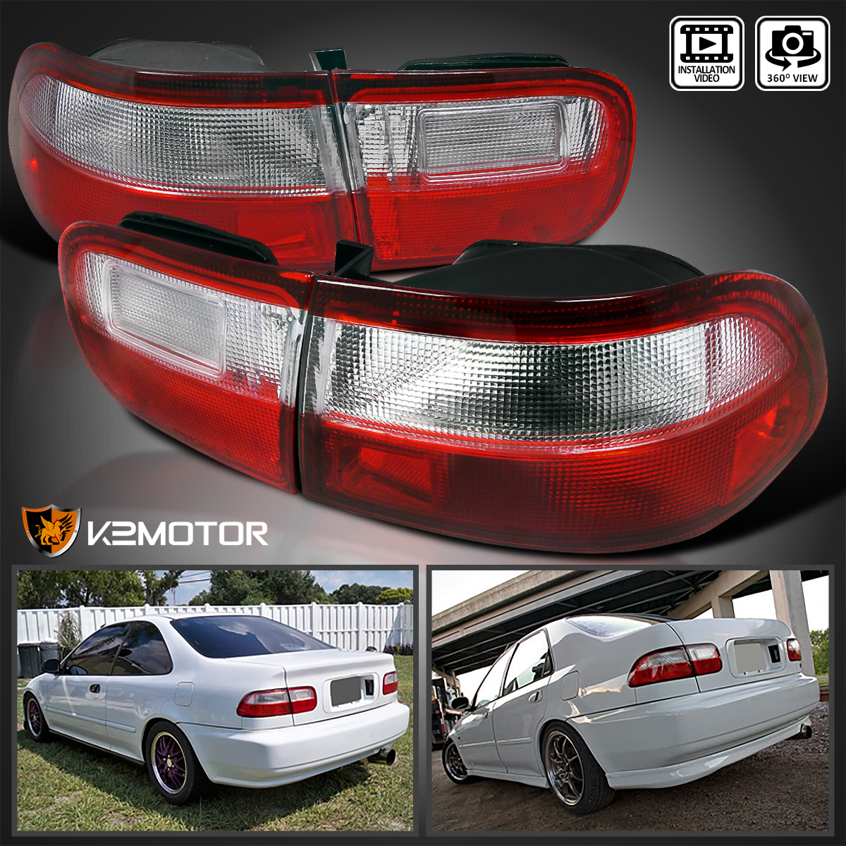 For 92 95 Honda Civic 2dr 4dr Jdm Red Clear Tail Lights