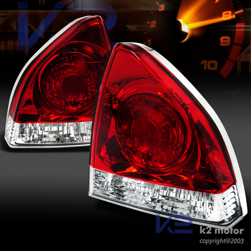 For 92 96 Honda Prelude Jdm Chrome Red Clear Rear Tail