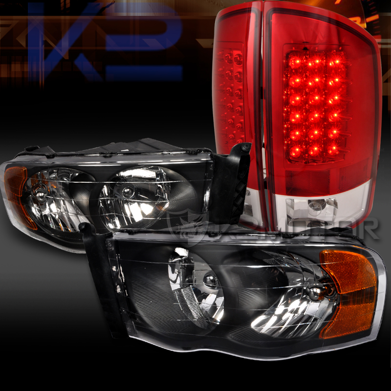 02 05 Dodge Ram 1500 2500 3500 Black Diamond Headlights