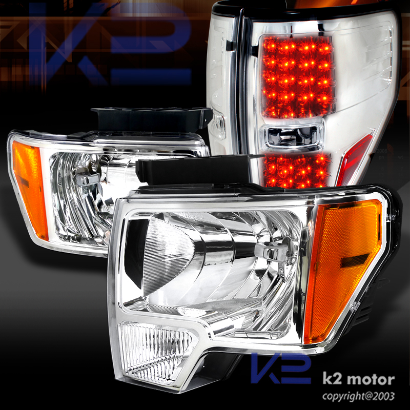2009 2014 Ford F150 Crystal Clear Headlights Chrome Led