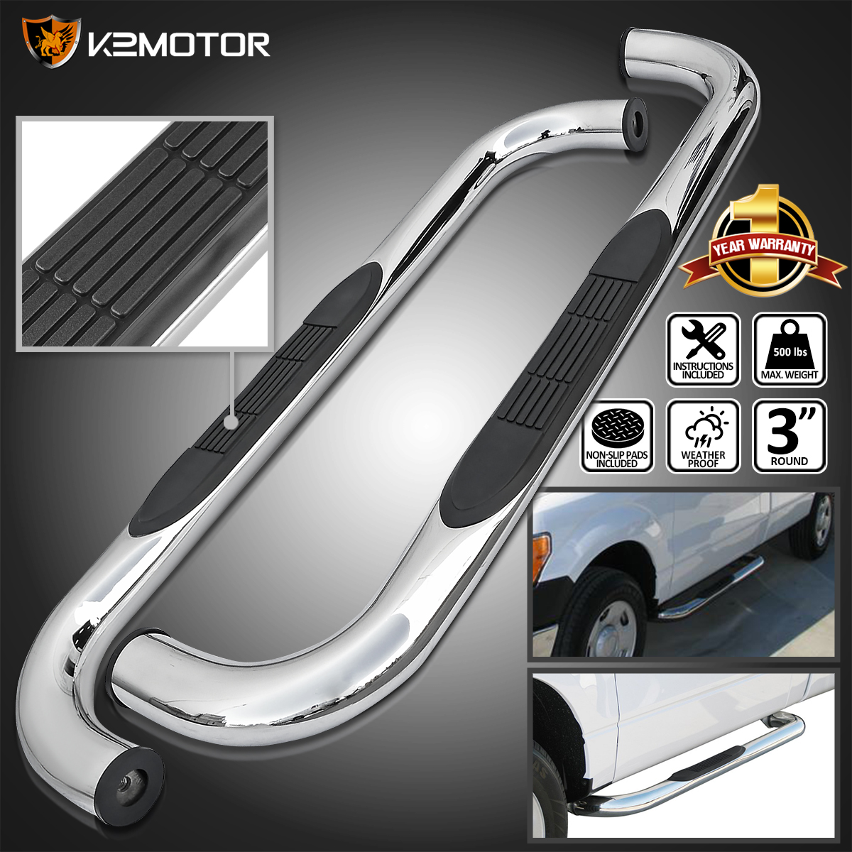 97 04 Ford F150 97 99 F250LD Reg Cab Chrome Running Boards