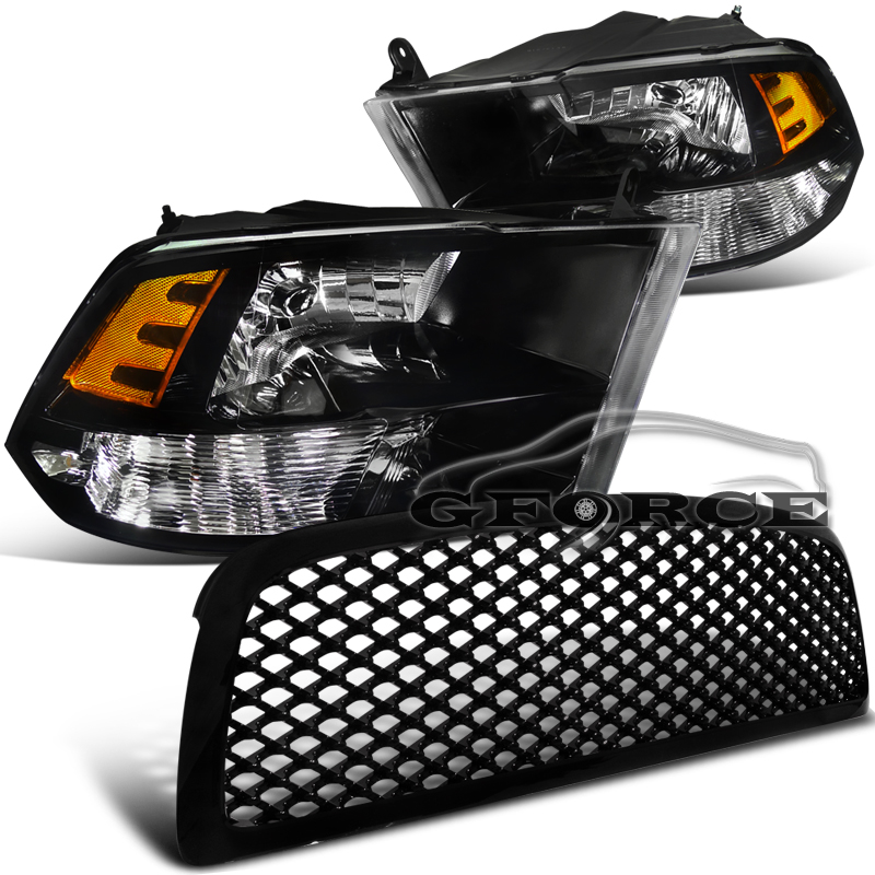 2009 2011 dodge ram 1500 truck headlights w mesh front. Black Bedroom Furniture Sets. Home Design Ideas