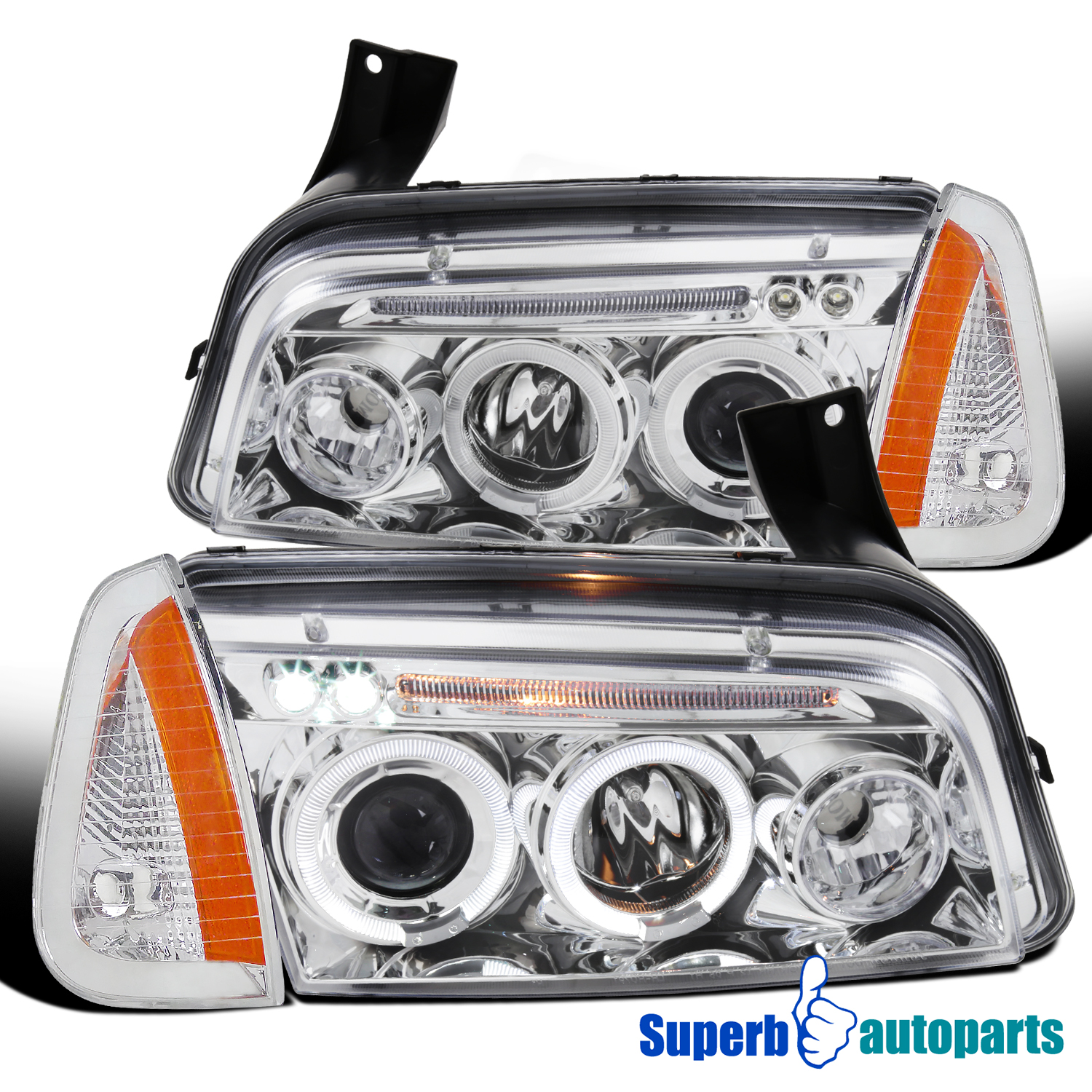 2006 2010 Dodge Charger Halo Led Projector Headlights