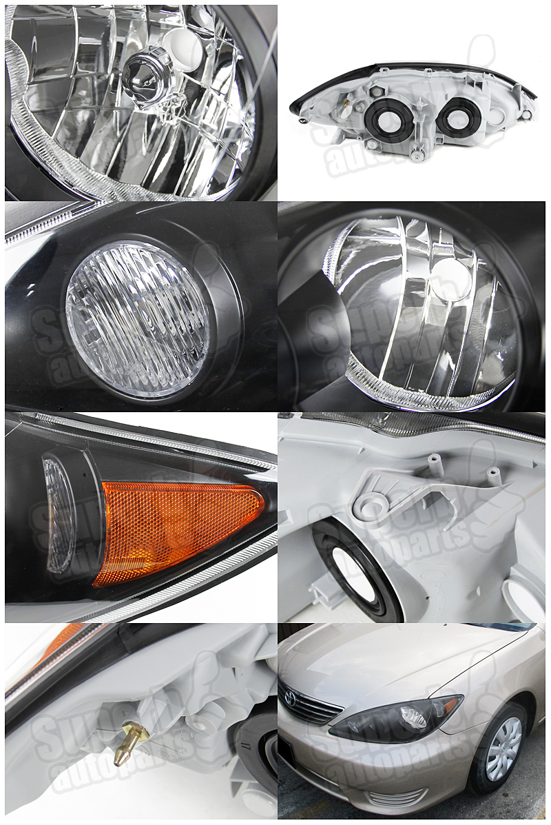 2005 2006 toyota camry jdm style headlights black head lamps ebay. Black Bedroom Furniture Sets. Home Design Ideas
