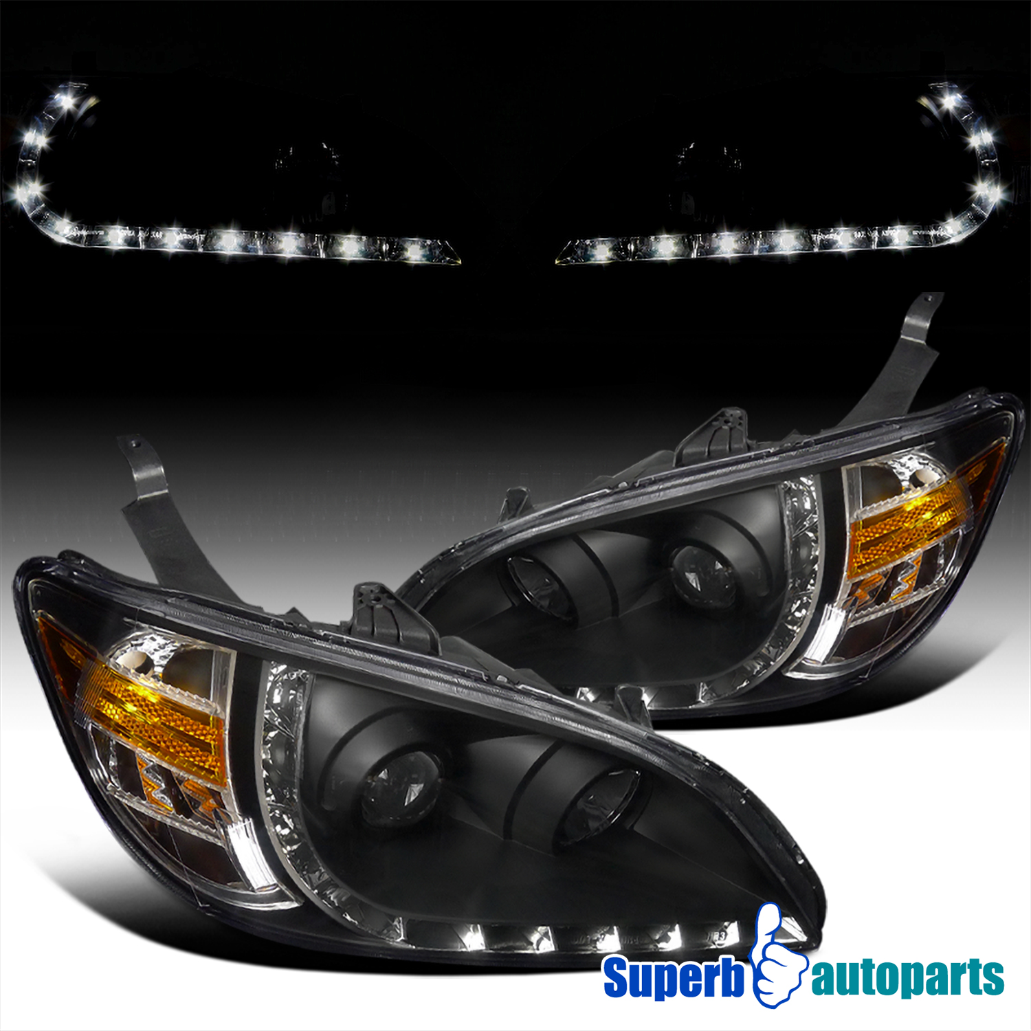 for 2004 2005 honda civic r8 style led drl projector head. Black Bedroom Furniture Sets. Home Design Ideas