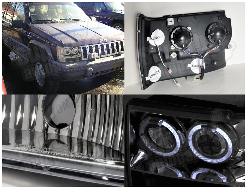 jeep grand cherokee 93 98 faros cromados con ojos de angel. Black Bedroom Furniture Sets. Home Design Ideas