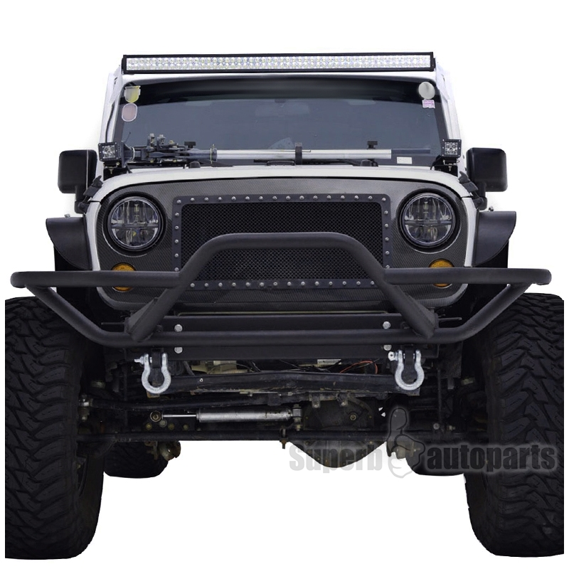 Jeep Grill Guards And Bumpers : Jeep wrangler jk black rock crawler tubular
