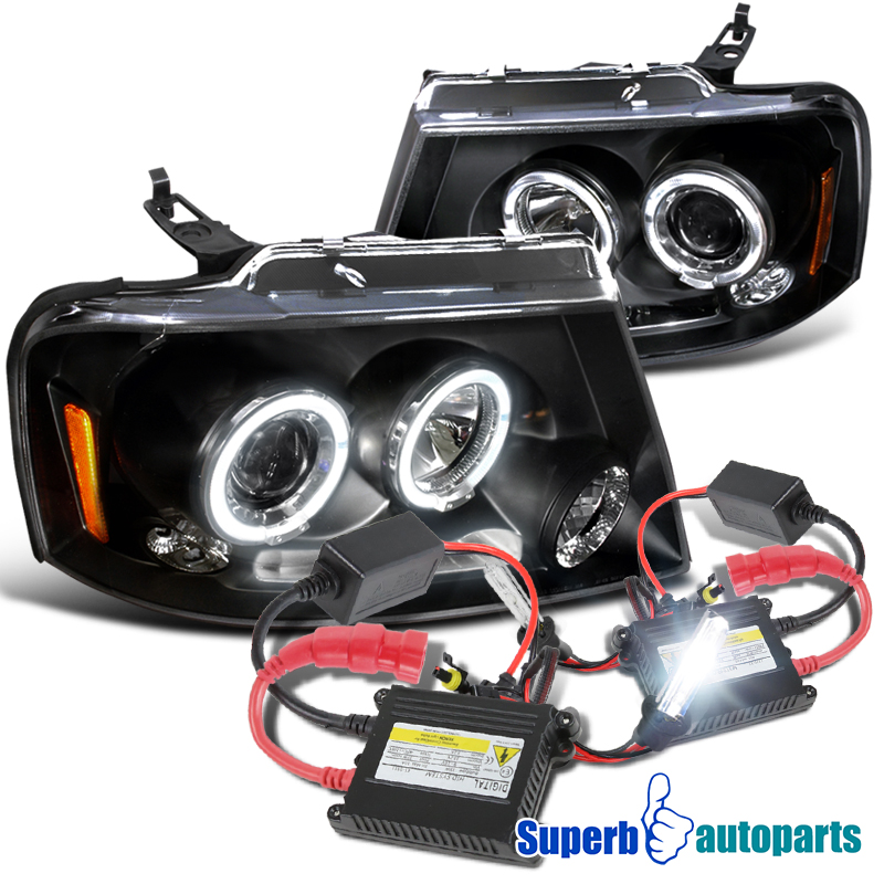 2004 2008 Ford F150 Dual Halo LED Projector Headlights