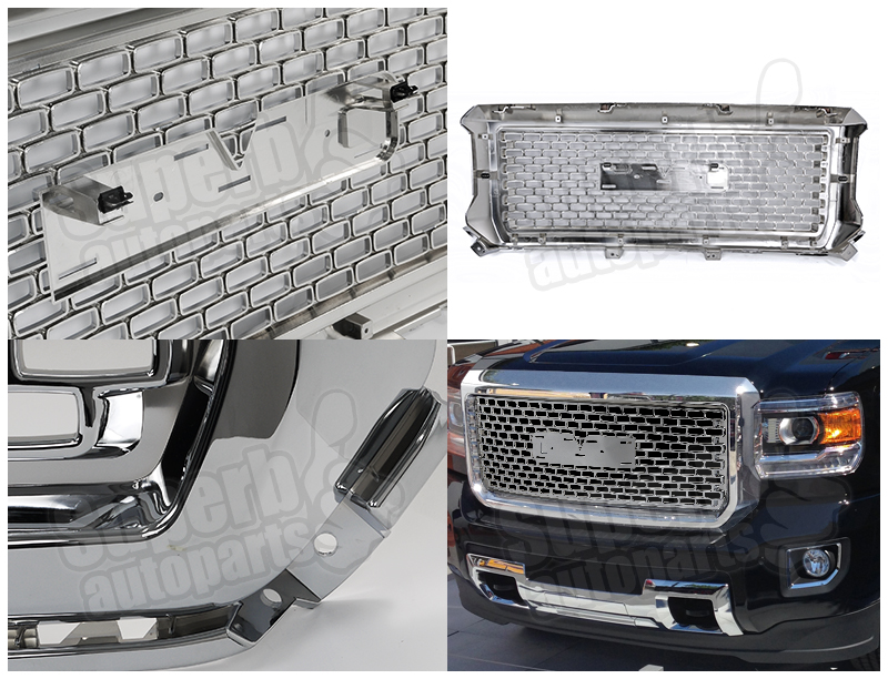 2014 2015 gmc sierra 1500 1500hd denali abs grille front. Black Bedroom Furniture Sets. Home Design Ideas