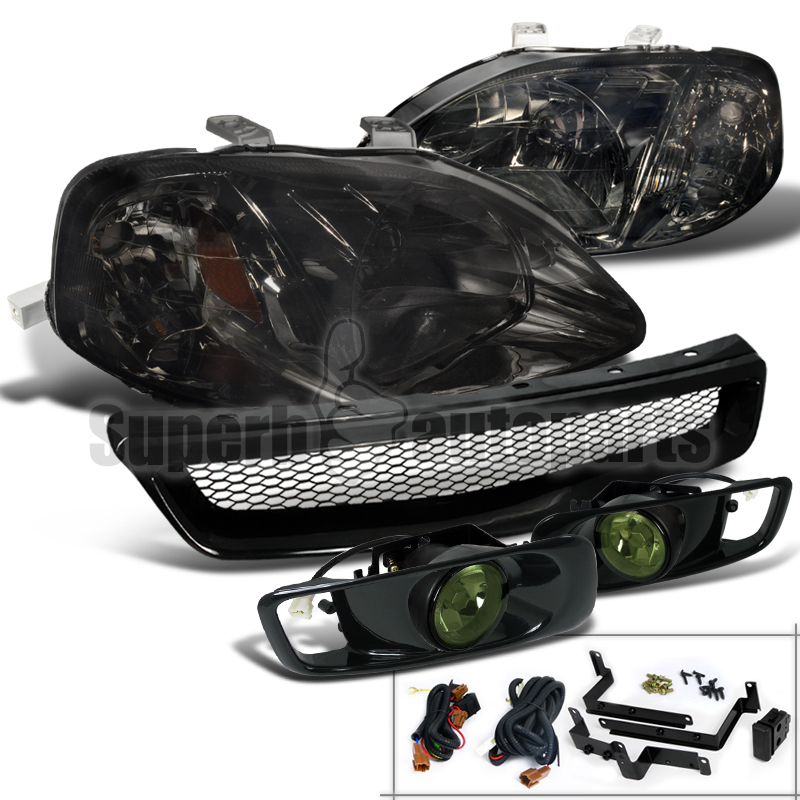 For 1999-2000 Honda Civic Headlights Smoke+Bumper Fog Lamp+ABS Mesh Grille Black