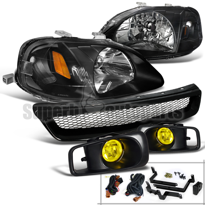 For 1999-2000 Honda Civic Headlight Black+Bumper Fog Lamp Yellow+ABS Mesh Grille