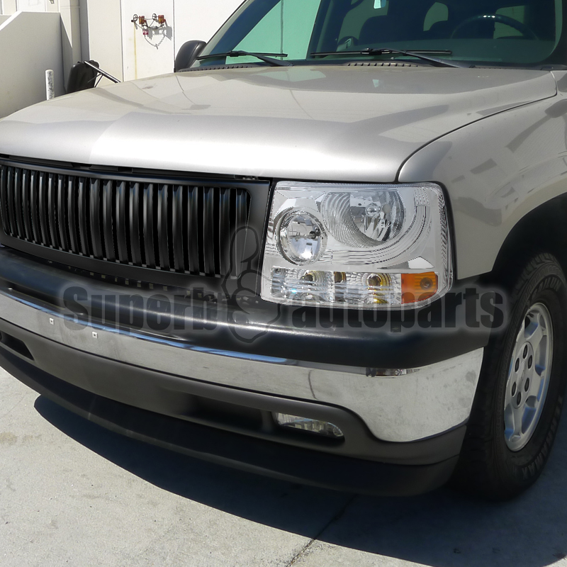 1999 2002 silverado suburban 1500 2500 headlights chrome black vertical grille ebay