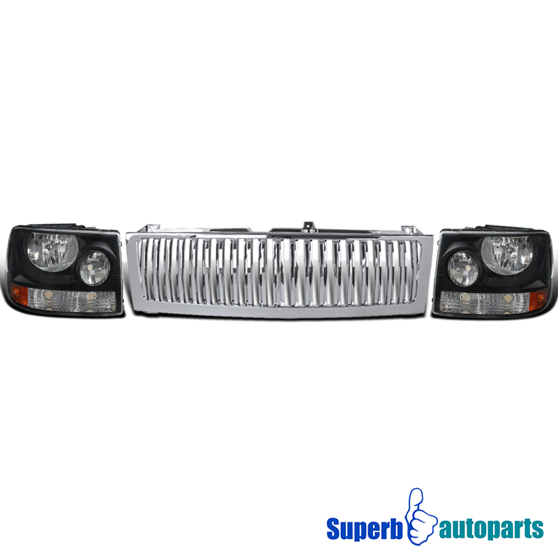 1999 2002 silverado suburban 1500 2500 black headlights chrome vertical grille