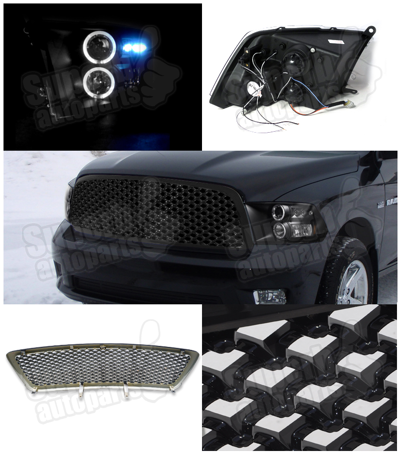 2009 2012 dodge ram 1500 halo led projector headlights abs. Black Bedroom Furniture Sets. Home Design Ideas