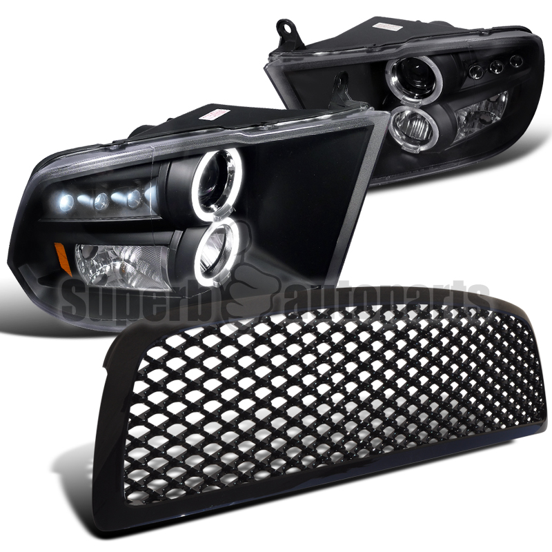headlights ram 1500 dodge 2009 hood led halo projector abs mesh grill tm fitment quad halogen