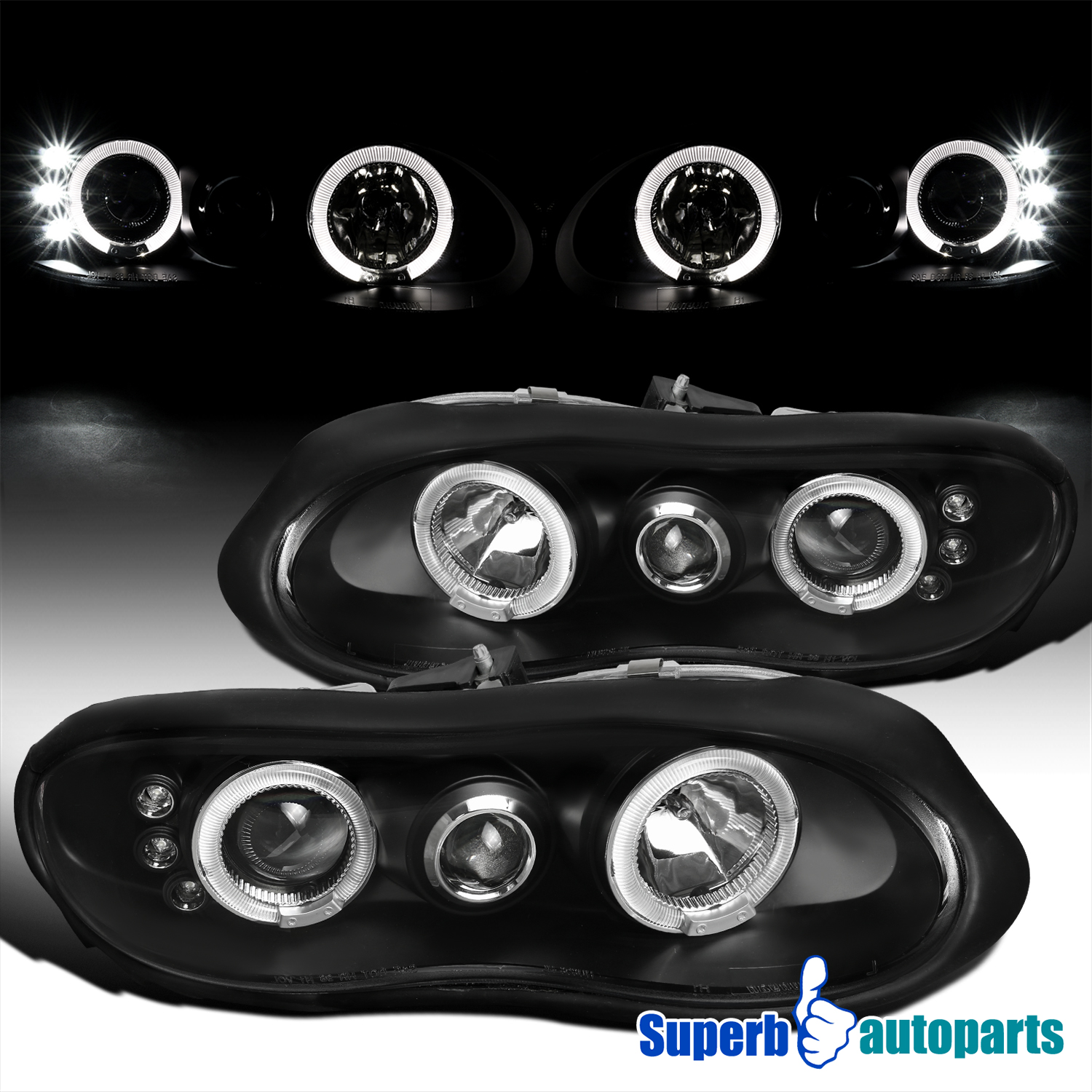 1998 2002 chevy camaro halo led projector headlights black for 2000 camaro window motor replacement