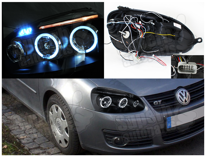 For 2006 2008 golf jetta rabbit led halo projector for Rab motors used cars