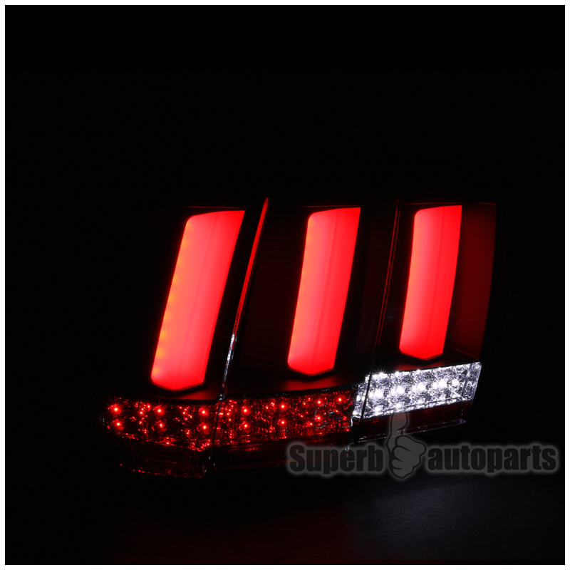 2004 ford mustang sequential led tail lights brake lamp black clear. Black Bedroom Furniture Sets. Home Design Ideas