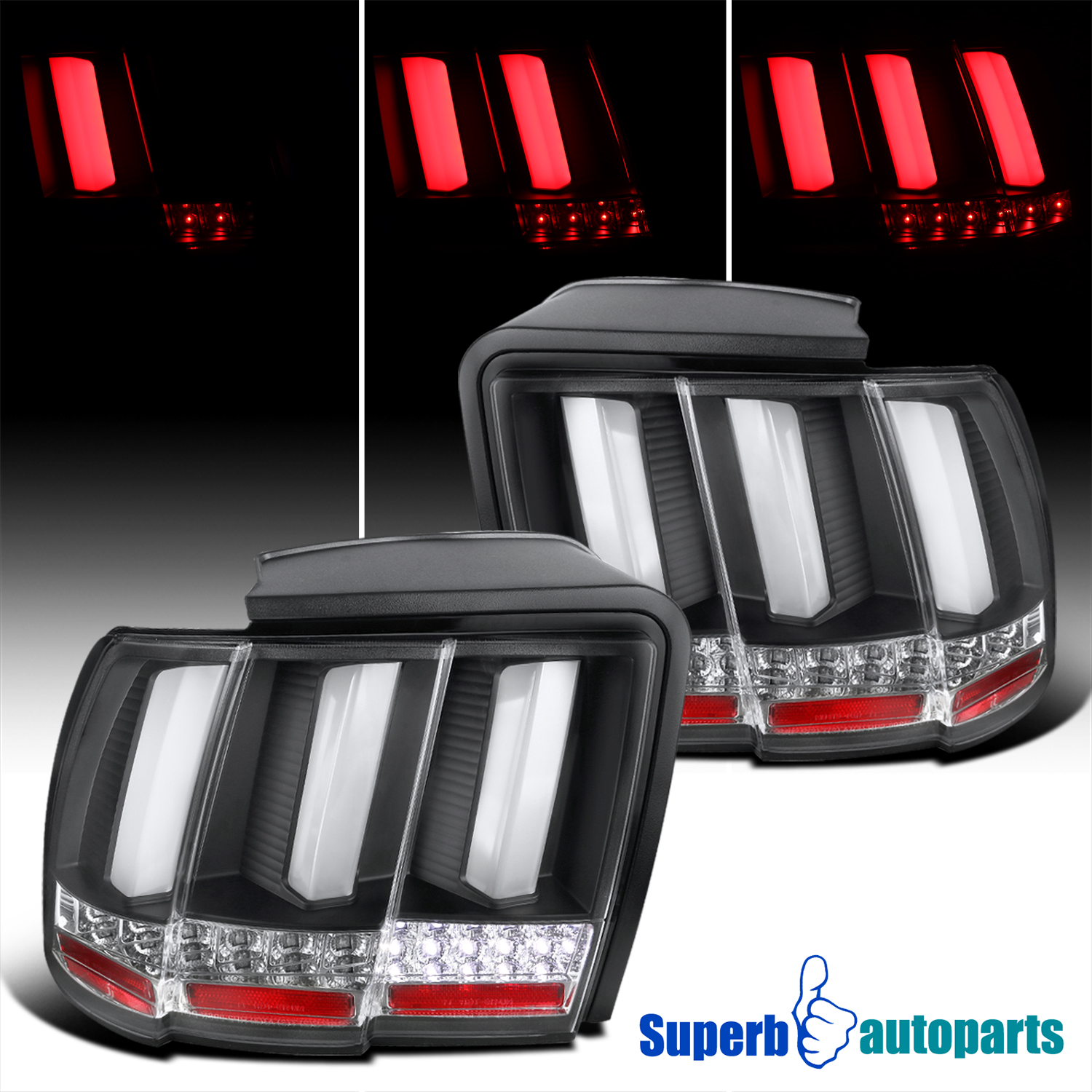 1999 2004 ford mustang sequential led tail lights brake. Black Bedroom Furniture Sets. Home Design Ideas