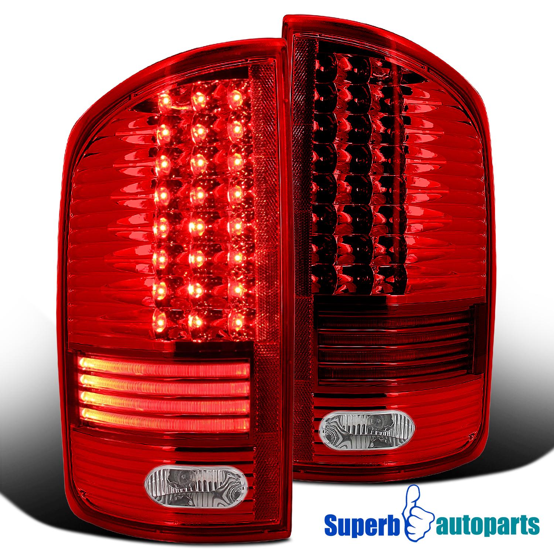 2002 2006 dodge ram 1500 2500 3500 red led tail lights rear brake lamp. Black Bedroom Furniture Sets. Home Design Ideas