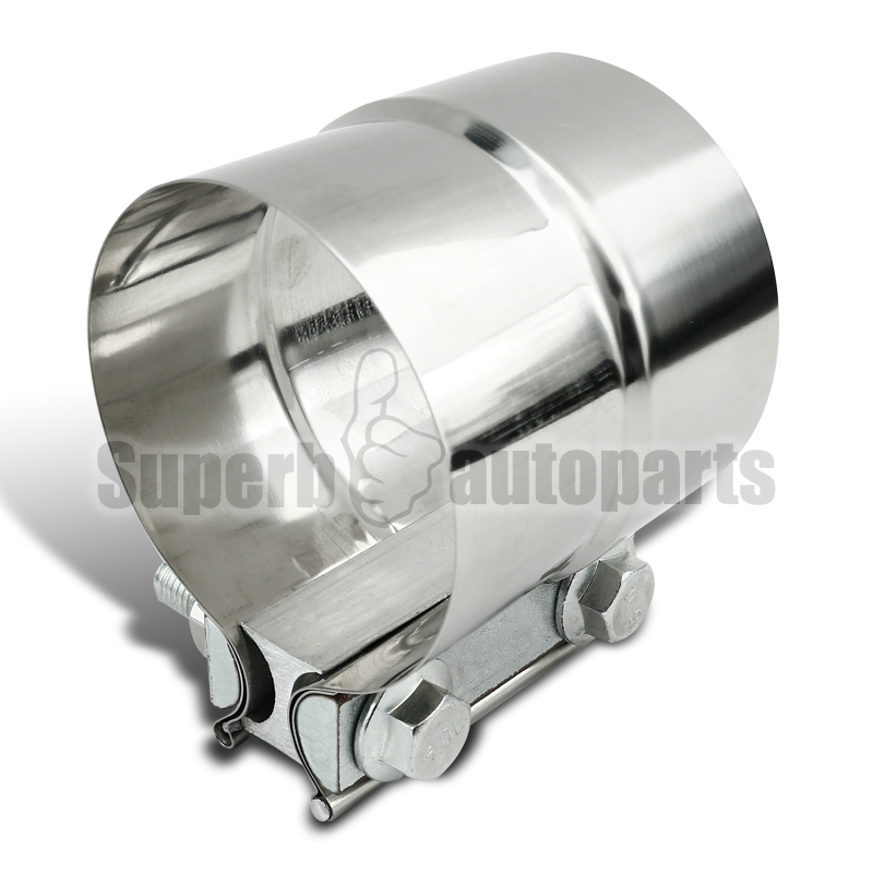 Quot chrome band muffler clamp pipe connector stainless
