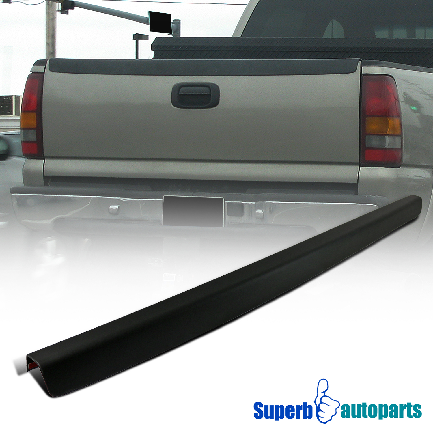 1999 2007 chevy silverado sl tailgate protector cap high quality abs black. Black Bedroom Furniture Sets. Home Design Ideas