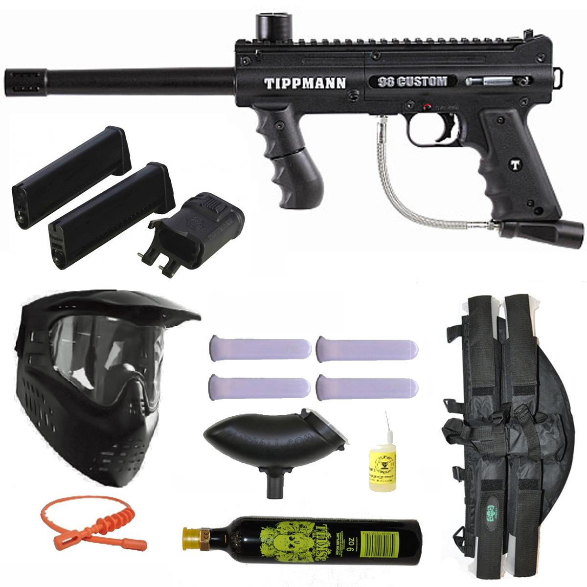 Tippmann Paintball Tippmann 98 Custom PS Paintball Gun w/ Mag Fed Adapter 3Skull 4+1 9oz Mega Set