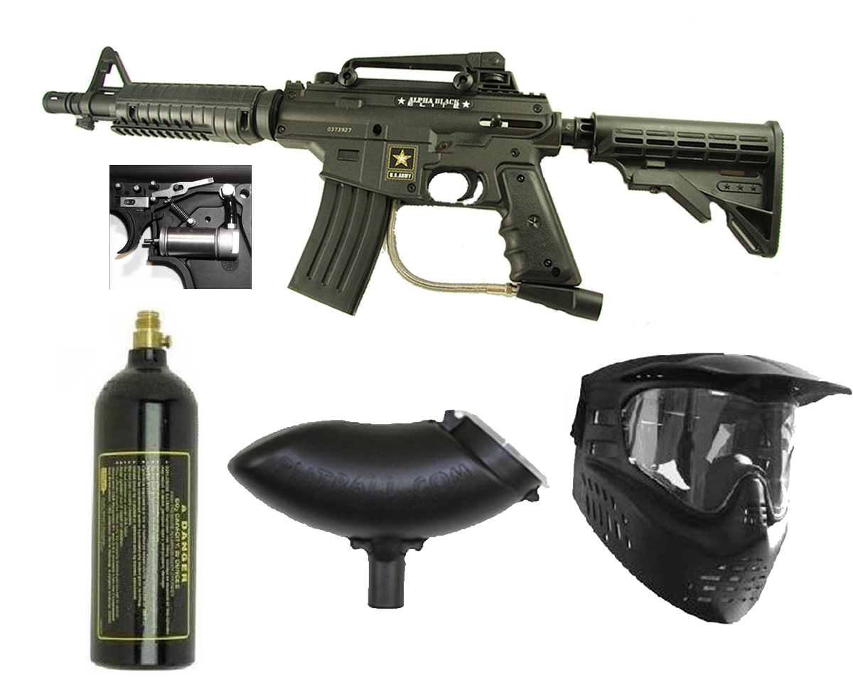 US Army Alpha Black Elite w/ Response Paintball Marker Gun 3Skull Package Set at Sears.com