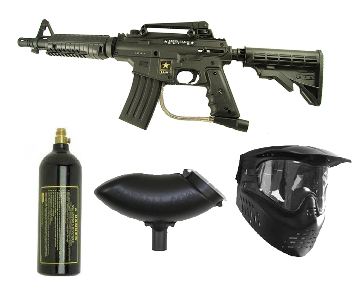 US Army Alpha Black Elite Paintball Marker Gun 3Skull Package Set at Sears.com