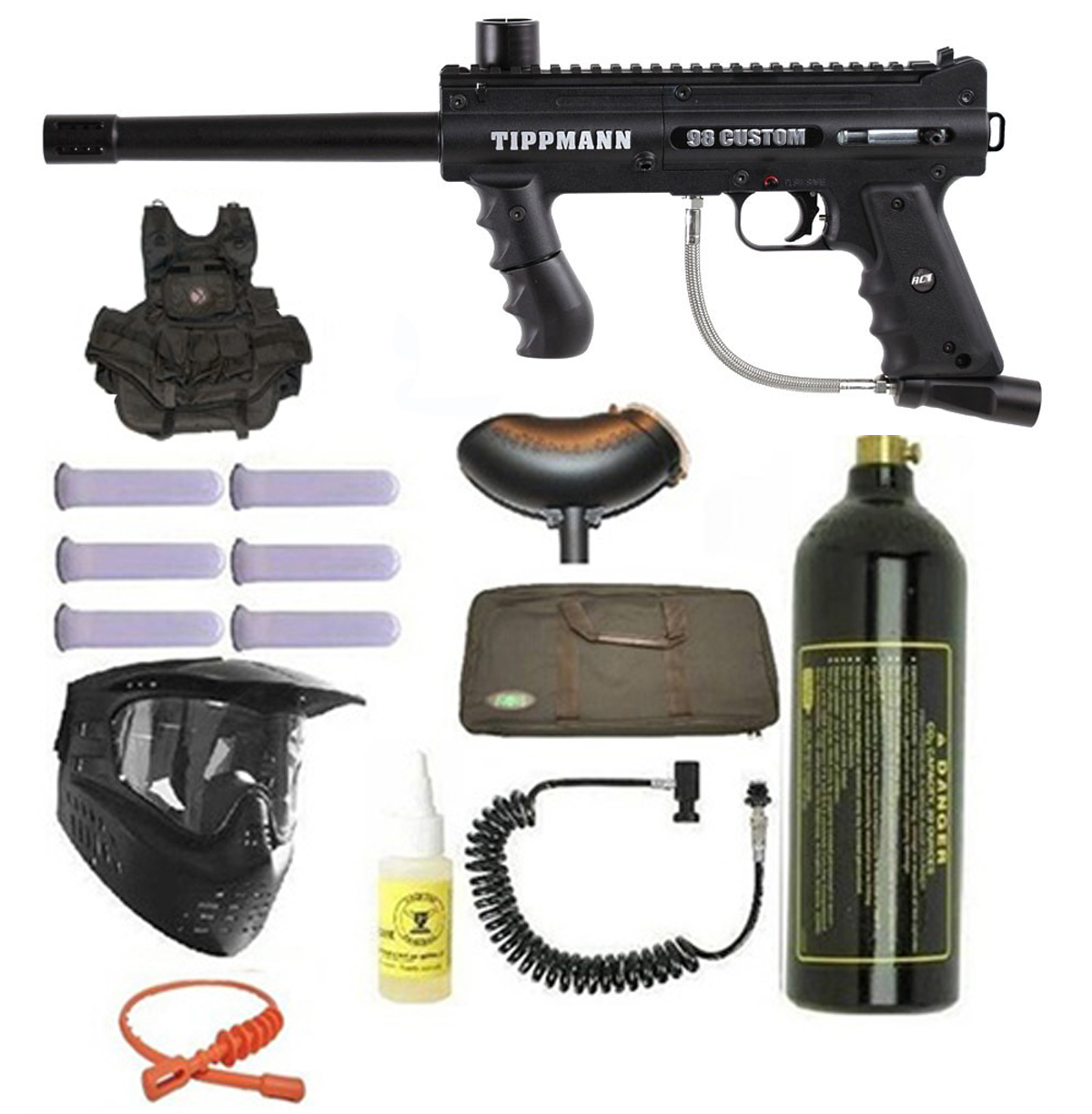 ... Tippmann 98 Custom Ultra Paintball Marker Gun 3Skull Vest Sniper Set