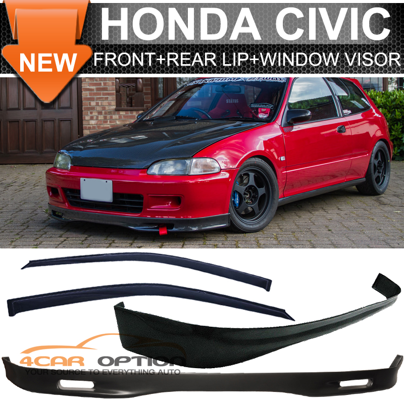 92 95 honda civic 3dr hb eg eh spoon front rear bumper lip for 2002 honda civic rear window visor