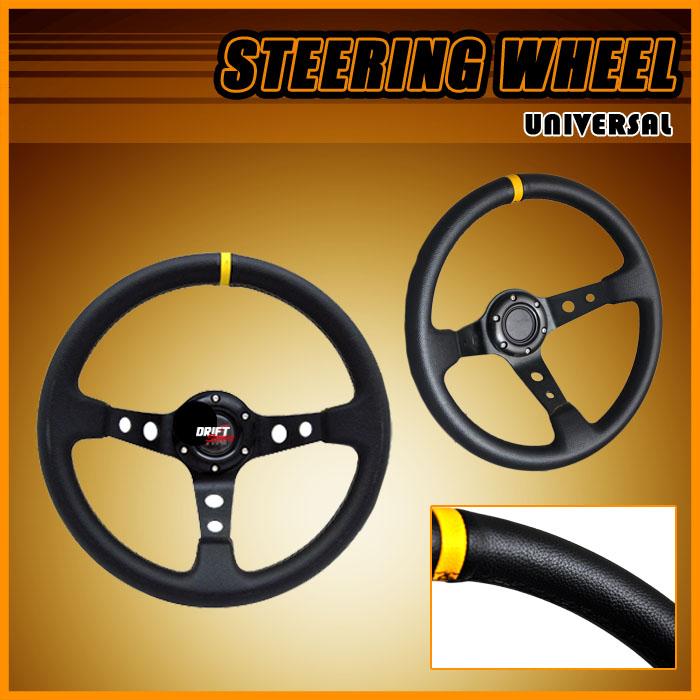JDM Deep Dish Drift Racing Steering Wheel Black Stitch