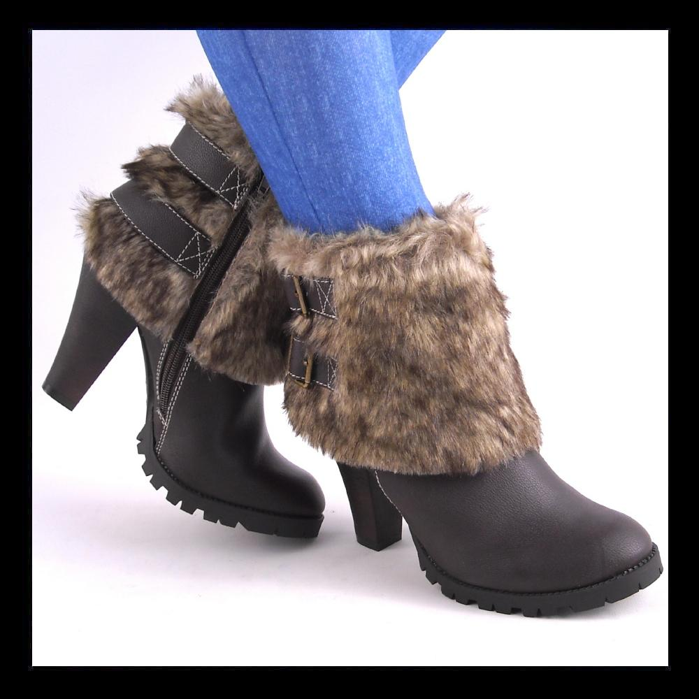 new brown fur shaft chunky high heel ankle boots