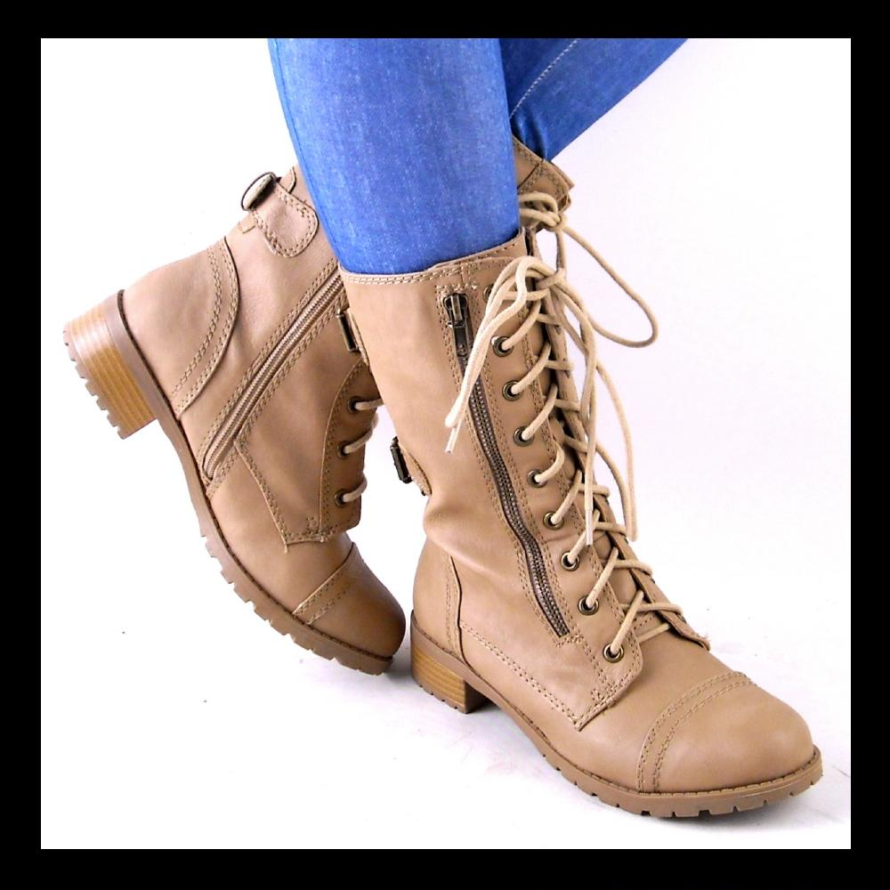 new womens beige laceup lug sole combat boots size 11 ebay