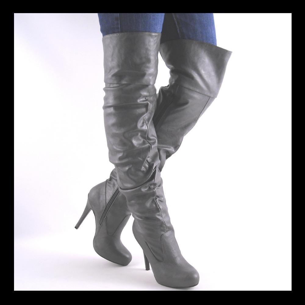 new gray knee high heel womens boots size 10 ebay