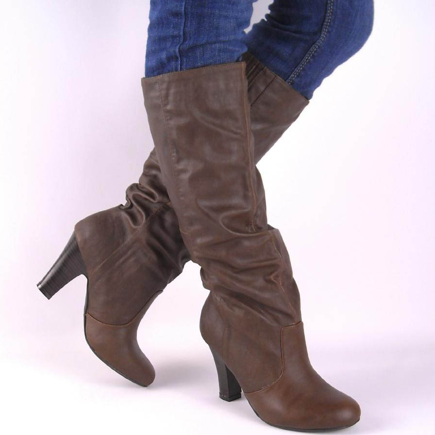 new brown slouch chunky high heel boots ebay