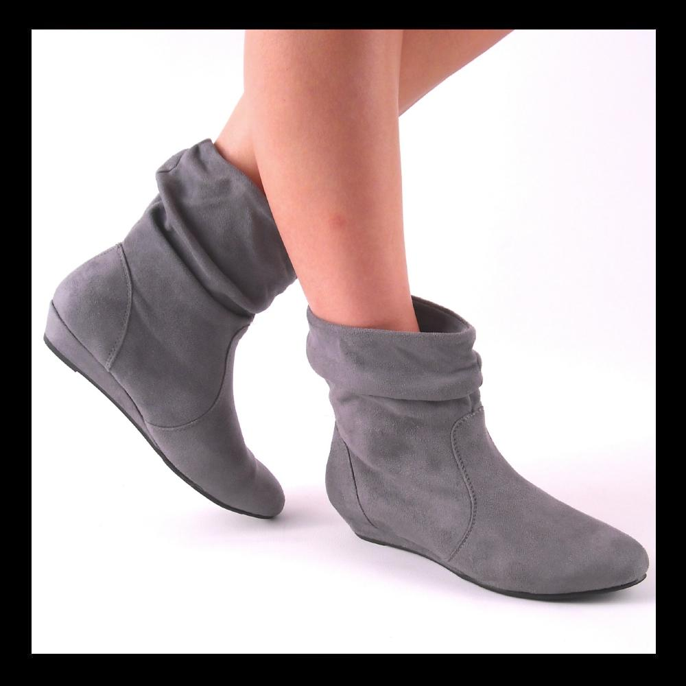 new low wedge slouch ankle boots ebay