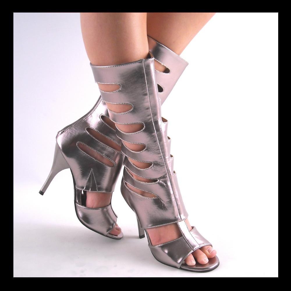 new pewter midcalf high heel gladiator boots ebay