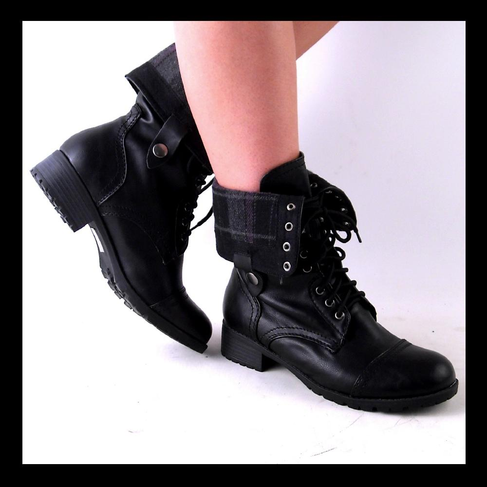NEW WOMENS BLACK MIDCALF LACEUP OR FOLD DOWN COMBAT BOOTS SIZE 7.5