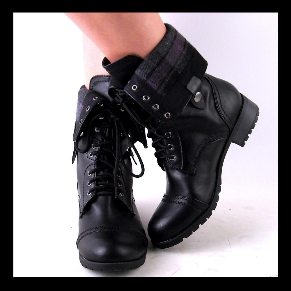 Amazing Black Fold Over Combat Boots Women Bamboo Fold Over Floral Print