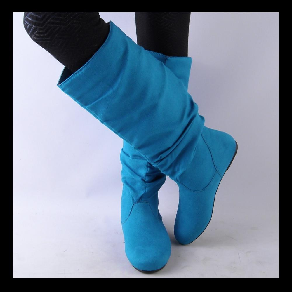 new womens turquoise knee high slouch boots ebay