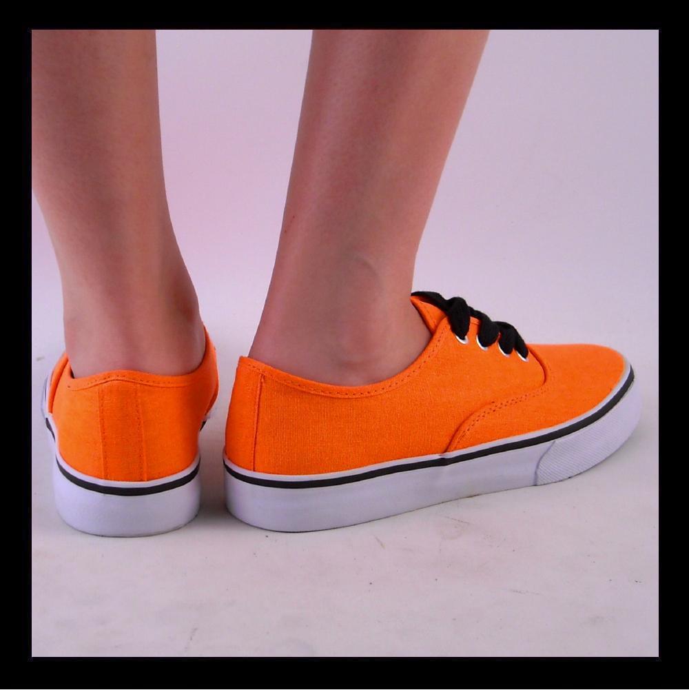new womens orange neon deck tennis shoe canvas sneaker ebay