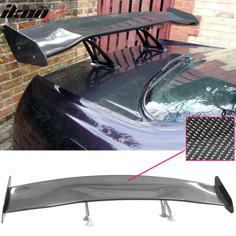 56 inch gt racing race drag trunk spoiler wing silver leg carbon fiber cf ebay. Black Bedroom Furniture Sets. Home Design Ideas