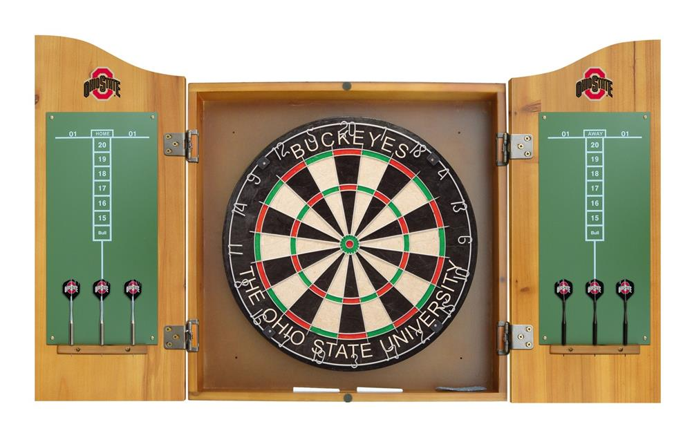 Ohio State University Buckeyes Dart Board Cabinet & Bristle ...