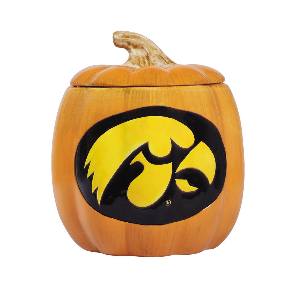 University of Iowa Hawkeyes Halloween Ceramic Pumpkin Cookie Jar