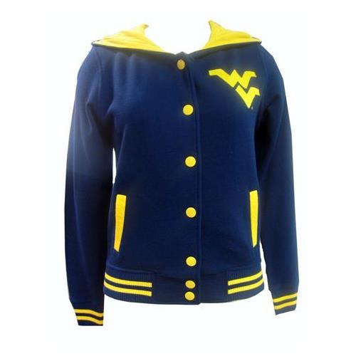 E5 West Virginia Mountaineers Ladies Button Up Hooded Jacket