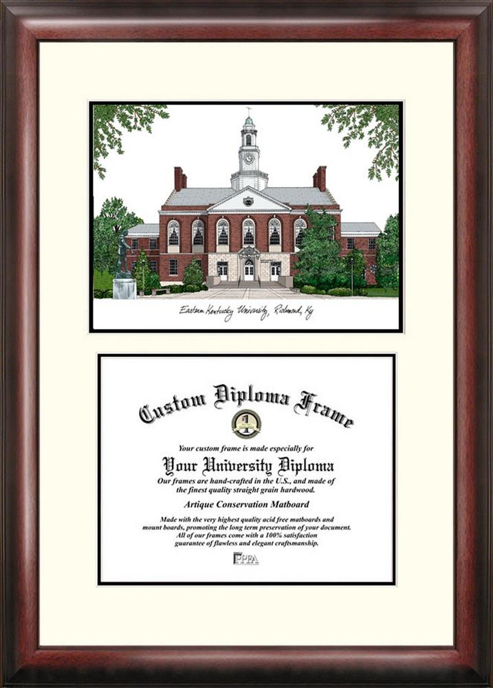 Eastern Kentucky University Mahogany Diploma Frame & Lithograph