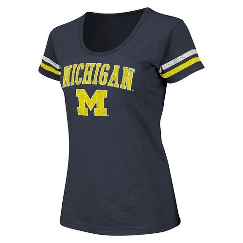 University-of-Michigan-Wolverines-Womens-Striped-Sleeve-Scoop-Neck-T-Shirt
