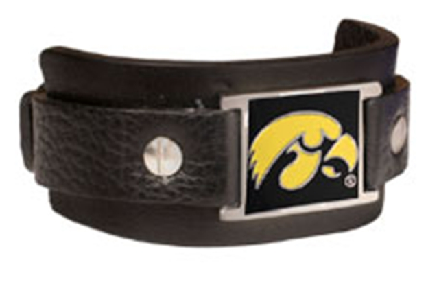 University of Iowa Hawkeyes Leather Cuff Retro Bracelet