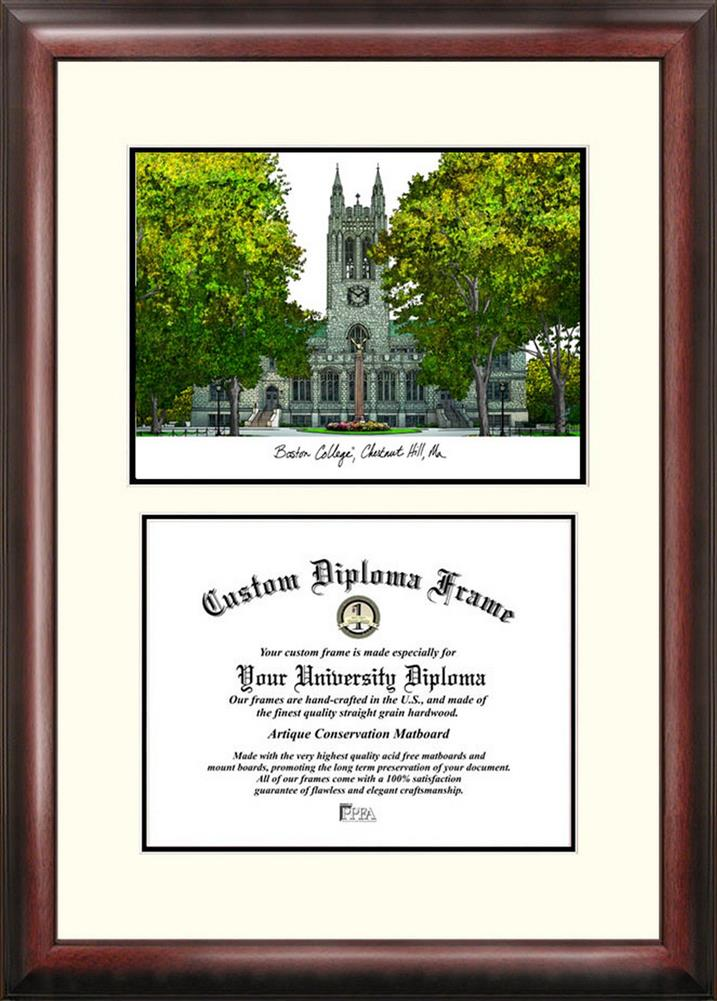 Boston College BC Mahogany Diploma Frame & Lithograph
